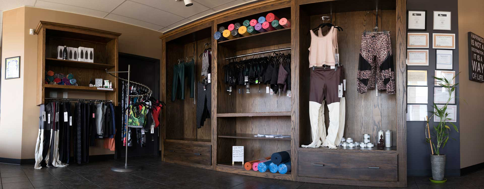 Photo of the Boutique store in Sumits Hot Yoga studio Springfield, MO