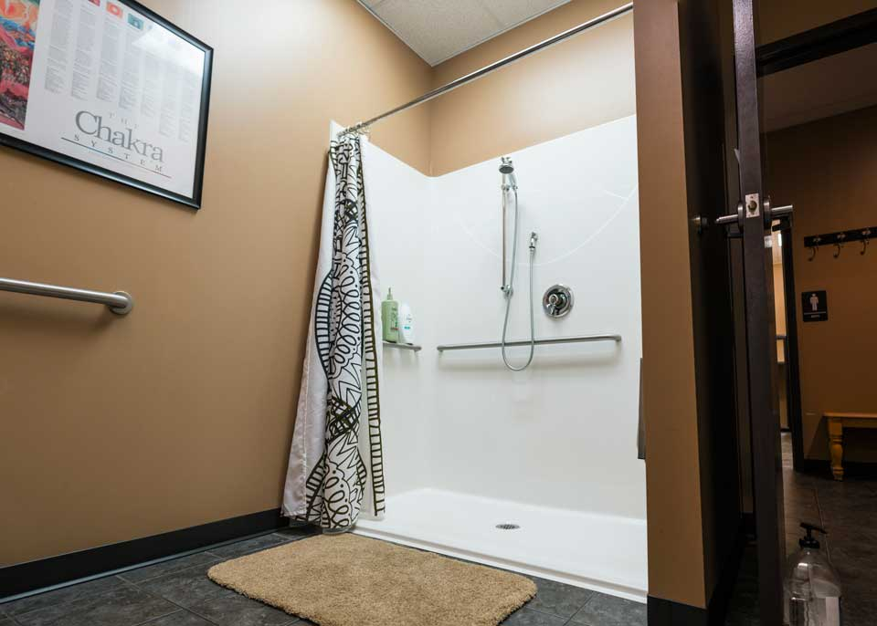 Picture of the showers at Sumits Hot Yoga studio in Springfield, MO